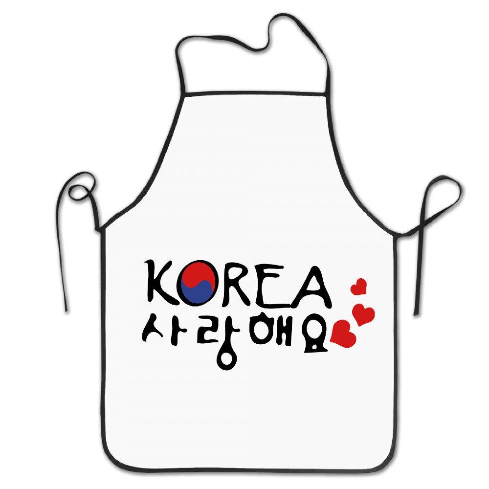 ファッションホテルシェフポリエステルエプロンレディースポケット付きエプロンメンズのLove South Korea韓国語でTXTポリエステルグリルEasy Care大人Bibsポリエステルエプロンギフト   B0735DKDJW