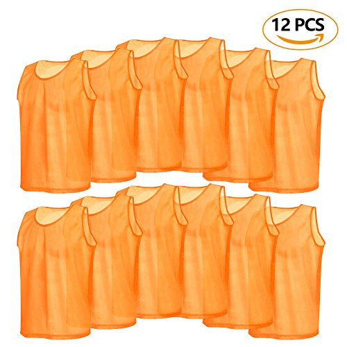12 Pack Mesh Scrimmage Training Vests Football Vest Breathable Adults Jerseys Bibs for Volleyball Soccer Basketball (Color : (Football Scrimmage Vests)