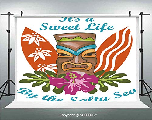 (Photography Backdrops Sweet Life by The Salty Sea Text with Tiki Figure and Hibiscus Flower Print Decorative 3D Backdrops for Photography Backdrop Photo Background Studio Prop)
