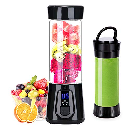 Portable Blender YouJiaBest 1.7 Cup with Easy Clean Glass Stainless Steel 6-Blade and Detachable Cup.USB Rechargeable Small Blender for Shakes and Smoothies
