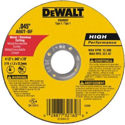 Dewalt DW8062 Type 1 High Performance Reinforced Cut-Off Wheel, 4-1/2 In Dia X 0.045 In 7/8in  Arbor (25) Pack)