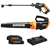WORX WO7047 20V Hydroshot and Turbine Blower with Two 20V Li-ion (2.0Ah) batteries and Dual Charger