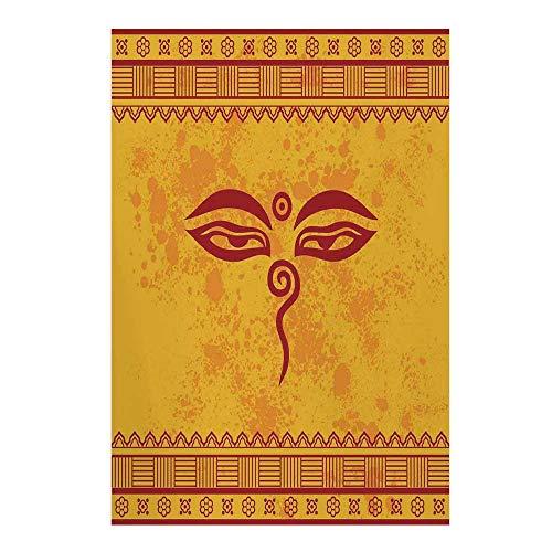 "Ethnic Grunge Decor Stylish Backdrop,Traditional Eyes Asian Tibetan Henna Design Print for Photography,59"" W x 86"" H"