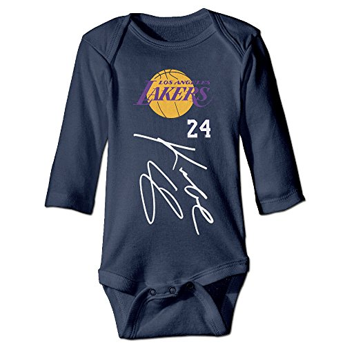 HYRONE Lakers #24 Basketball Player Baby Bodysuit Long Sleeve Climbing Clothes Size 6 M Navy]()