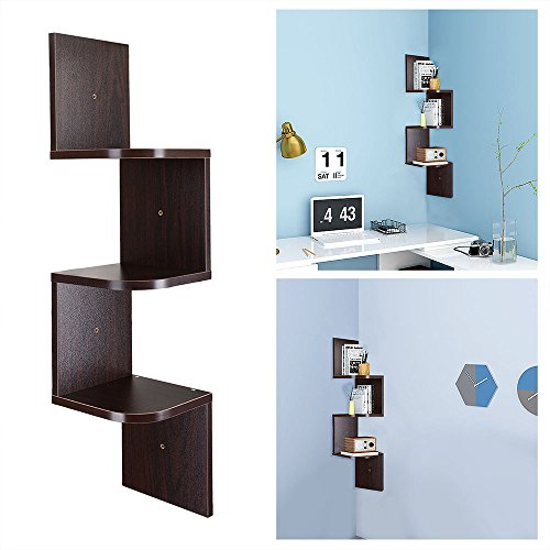 Yescom 3 Tiers Wall Mount Corner Shelf Wood Storage Organizer w/ Gradienter Home Walnut
