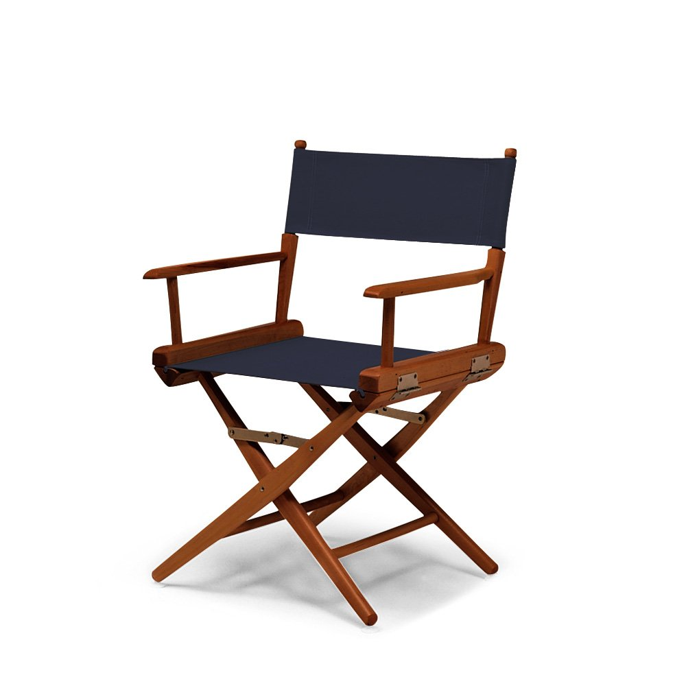 Navy with Walnut Frame Telescope Casual World Famous Dining Height Director Chair, Natural with Varnish Frame