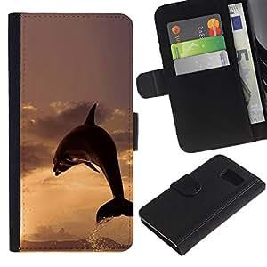 ULTIX Cases / Samsung Galaxy S6 SM-G920 / DOLPHIN SPLASH SUNSET / Cuero PU Delgado caso Billetera cubierta Shell Armor Funda Case Cover Wallet Credit Card