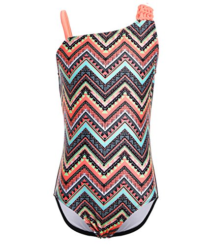 BELLOO Girls Wave Rhombus One-Piece Swimsuit Woven Straps Bathing Suits, 10-12