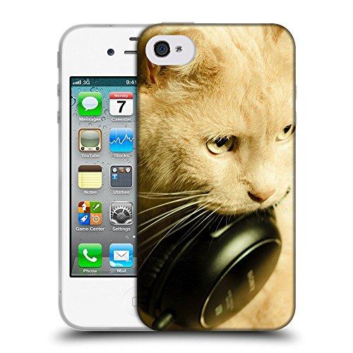 Just Phone Cases Coque de Protection TPU Silicone Case pour // V00004189 rougechat avec un casque noir // Apple iPhone 4 4S 4G