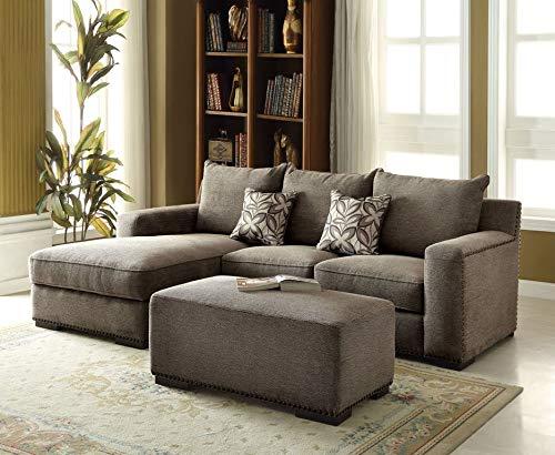 Acme Furniture AC-53593 Storage Ottoman, Gray Chenille