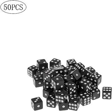 Wilk Bulk Pack de 50 Dados con Puntos Blancos Pips para Juegos de ...