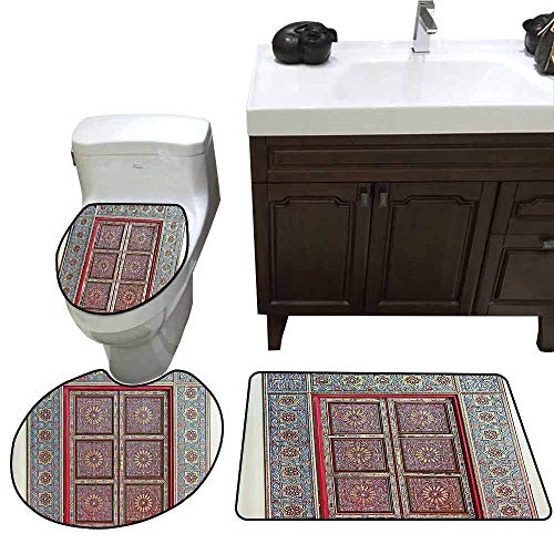 3 Piece Extended Bath mat Set Moroccan Decor Collection A Magnificent Moroccan Traditional Ancient Door Gate Brass Historic Handicraft Image U-Shaped Toilet Mat Blue Coral