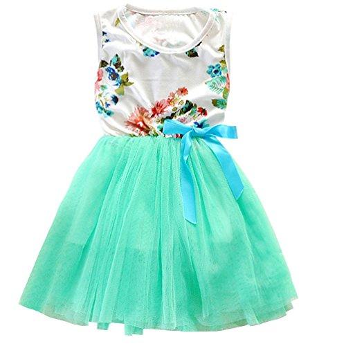 Csbks 1 2 3 4 5 Years Kid Girls Cute Floral Sundress Tulle Tutu Skirt Tank Dress 3T Green (Spring Dress Bloomers)