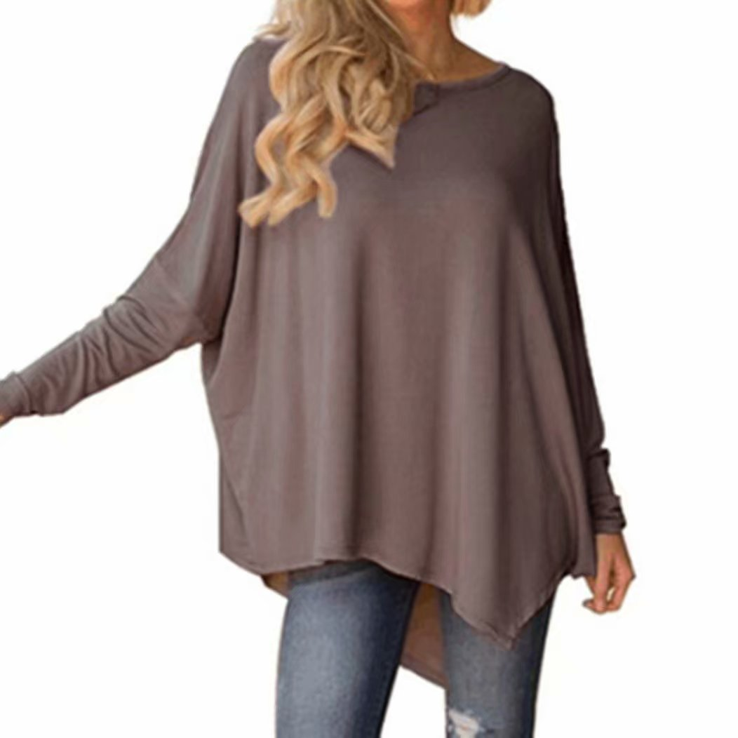 Yesmile Damen Blusen Mode Solide Tops Frauenhemd Herbst Shirt Oberteil Langarm Shirt Elegantes Oberteil Lässiges T-Shirt Frau Rundhals Hemd T-Shirt Neu Mode Kleider