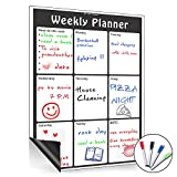 Magnetic Weekly Calendar Dry Erase Board, Large Multi-Function White Board, Monthly&Weekly Organizer Planner for Kitchen Refrigerator/Meeting Room/Classroom.