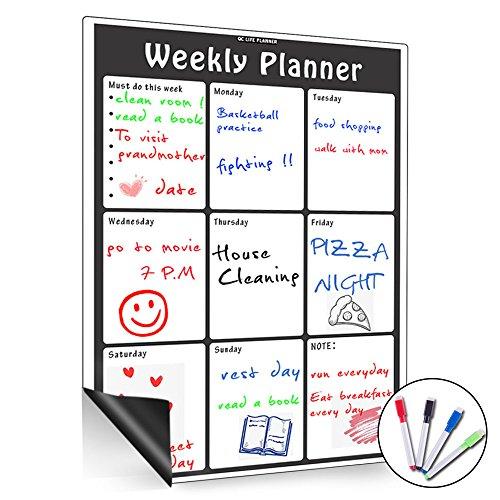 Calendario magnético mensual, borrado en seco, gran tabla blanca multifunción, organizador mensual y semanal para nevera de...