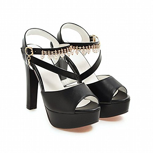 Mee Shoes Damen High Heels Plateau Quasten Sandalen Schwarz
