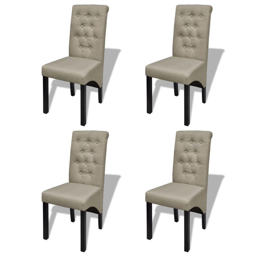 VidaXL 4x Esszimmerstuhl Beige Essstuhl Küchenstuhl Stuhlgruppe Hochlehner