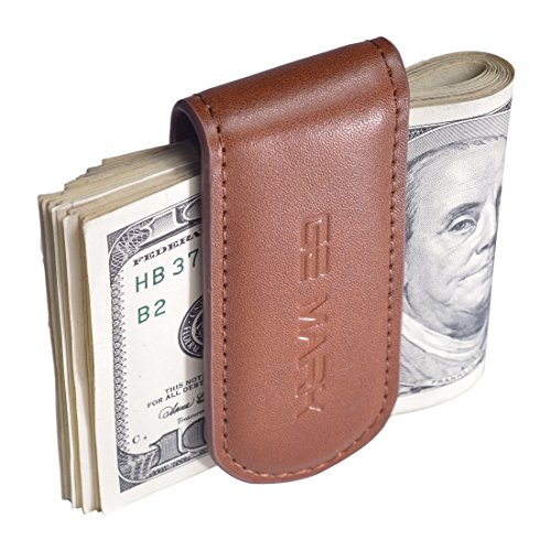 Leather Money Clip - Strong Magnets Holds 30 banknotes - for Men - Cash & Card - Gift Box (brown) ()