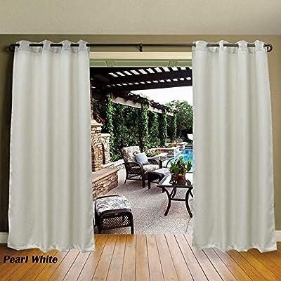 Cross Land - Cortinas impermeables para patios al aire libre, toldo de privacidad, cortinas de persianas, rayas, cortinas para puerta de porche de patio, pergola, cabaña, Gazebo, Dock, marfil (54 x 96