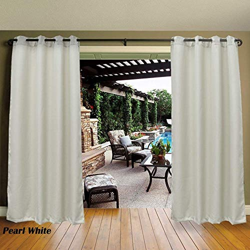 (Cross Land Outdoor Waterproof Patio Curtains Drapes Canopy Gazebo Privacy Shades/Blinds,Stripe, for Patio Porch Door Pergola,Cabana,Gazebo,Dock,Pearl White (54