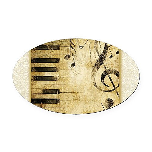 Oval Car Magnet Musician Piano Keys Music Notes