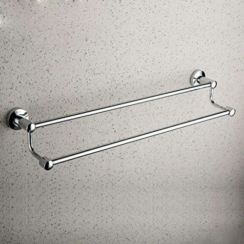 Copper Towel Rack Double Rod Bathroom Towel Rail Wall Mounted (Color : Silver, Size : 62cm-71.5cm)