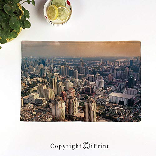 (LIFEDZYLJH Everyday Place mat for Dinner Parties,Summer Outdoor Picnics,Set of 4,Machine Washable,Aerial View of Bangkok City Metropolis Big Town Foggy Air Asian Panorama Art,Cream Dust)