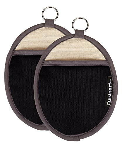 (Cuisinart Silicone Oval Pot Holders and Oven Mitts - Heat Resistant, Handle Hot Oven / Cooking Items Safely - Soft Insulated Pockets, Non-Slip Grip and Convenient Hanging Loop- Black, Pack of 2 Mitts )