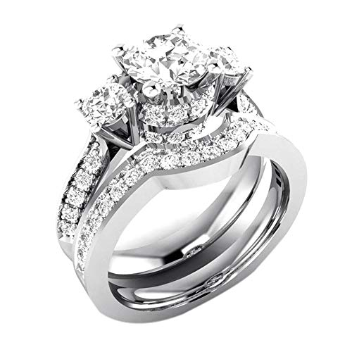 ✥ Shusuen ✥ 2 in 1 Chic Women White Diamond Ring Set Wedding Jewelry Valentine's Gift Shimmer Engagement Ring ()