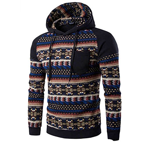 haoricu Men Shirt, Fall Men Bohemia Retro Long Sleeve Hoodie Sweatshirt Tops Jacket Coat Outwear (M, Black H)