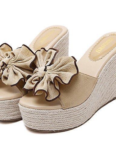 ShangYi Womens Shoes Fleece Wedge Heel Open Toe Sandals Dress Pink / Almond almond