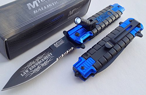"""Mtech Blue Police Spring Assisted Open Led Tactical Rescue Pocket Knife New"""" Review"""