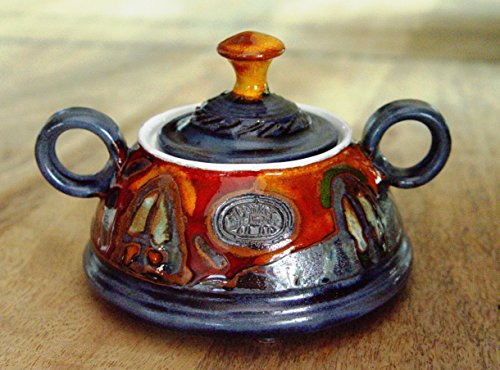 Pottery Sugar Bowl. Colorful Ceramic Bowl, Sugar Box with lid, (Tableware Pottery)