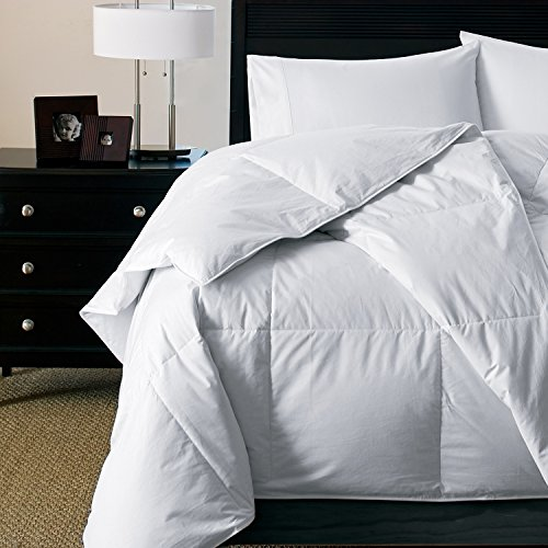 Luxury Light Weight Hypoallergenic 600 Fill Power White Goose Down Comforter - Perfect For Summer - Warm Weight Level (Queen 90