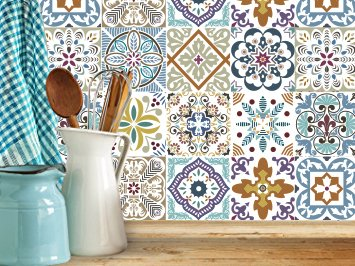 Decorative Tile (BLUMEN Decorative Tile Stickers Set 12 units 6x6 inches. Peel & Stick Vinyl Tiles. Backsplash. Home Decor. Furniture Decor.)