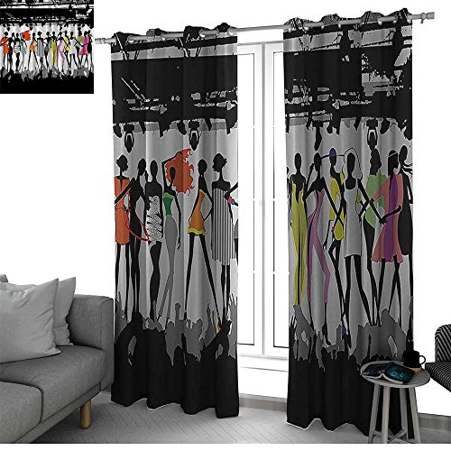 Funny Feminine Best Home Fashion Wide Width Thermal Insulated Blackout Curtain Modern Colorful Fashion Show Bodycon Runway Stage Lights Concert Chic Top Models Fantasy Curtain Panels