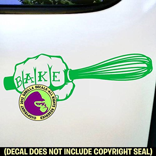Cook Green Whisk (Gorilla Decals BAKER Whisk Chef Cook Knife Tattoo Fist Decal Vinyl Bumper Sticker Laptop Window Car Wall GREEN)