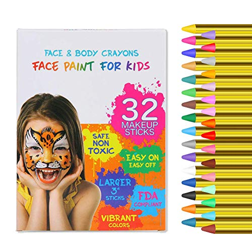 Tiger Halloween Face Paint For Kids (ThinkMax Face Paint Crayons for Kids, 32 Colors Face Painting Kit, Safe & Non-Toxic Face Body Crayons, Great for Halloween, Birthday, School)
