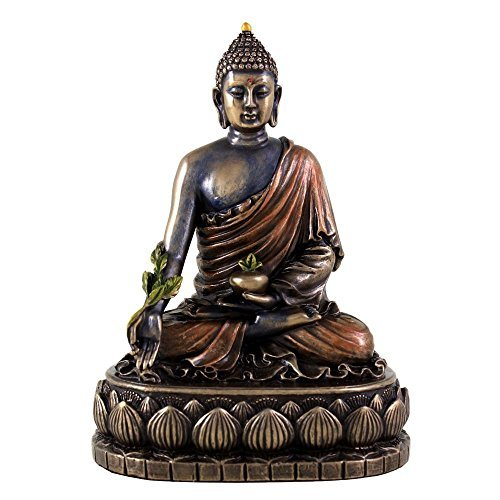 Top Collection 5.5-Inch Medicine Buddha of Healing Statue, Real Cold Cast Bronze