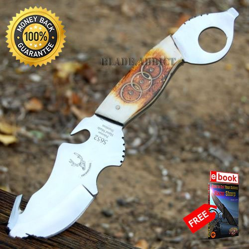 8.5'' Bone Edge Collector039s Skinning Hunting Knife Gut Hook skinner bowie For Hunting Tactical Camping Cosplay + eBOOK by MOON KNIVES