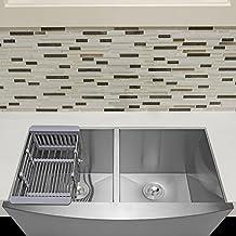 "Firebird 33"" x 20"" x 9"" Apron Farmhouse Handmade Stainless Steel Double Bowl 50/50 Kitchen Sink w/ Drain Strainer Kit Adjustable Tray"