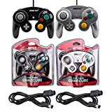 2-Pack Gamecube Controller and Extension Cable Set – (Black and Silver) Compatible