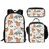 ELEQIN 3 Piece School Backpacks Teens Girls Boys Preschool Shoulder Bagpack+Cooler Warm Lunch Pouch+Zipper Pencil Case Forest Baby Cute Sloth Bear Rucksack Sets
