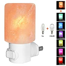 Venhoo Mini Hand Carved Himalayan Salt Lamp Natural Crystal Salt Rock Nursery Wall Night Light Plug In Nightlight with Incandescent Bulb and Multi LED Color Changing Bulb