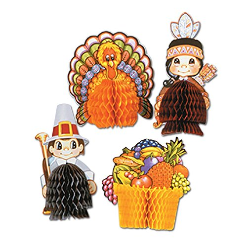 Beistle 4-Pack Decorative Thanksgiving Playmates, 4-Inch-5-Inch,