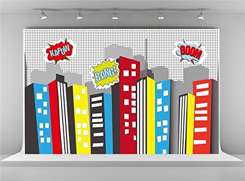 Kate 7x5ft-2.2x1.5m Super City Photography Backdrops Wrinkles Free for Superhero Party Photo Studio Background (7x5ft)