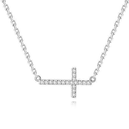 a8dedac02292 Plata collares para mujer circonitas cúbicas de lado Cruz collar ...