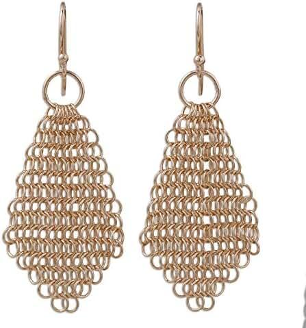 NOVICA 18k Rose Gold Plated 925 Sterling Silver Dangle Earrings 'Chain Mail Rose'