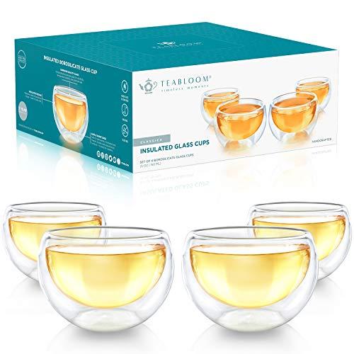 Tazas de Cristal Doble Teabloom – Juego de 4 Tazas Individuales para Te, Cafe, Expresso, y Mas - 150 ml – Coleccion Clasica de Tazas de Te
